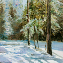 Vladimir Volosov Artwork Winter Forest, 2003 Oil Painting, Landscape