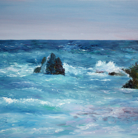Vladimir Volosov: 'at the shores bermuda', 2018 Oil Painting, Marine. Artist Description: This is an original unique textured oil painting on museum stretched canvas. Original Artist Style aEUR