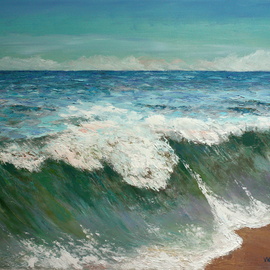 Vladimir Volosov: 'atlantic ocean', 2019 Oil Painting, Marine. Artist Description: This is an original unique textured oil painting on  Nanvas on a wooden frame.  Palette knife. Original Artist Style aEUR
