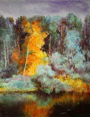 Vladimir Volosov: 'autumn forest', 2017 Oil Painting, Impressionism. Artist Description: This is an original unique textured oil painting on stretched canvas. Original Artist Style aEUR