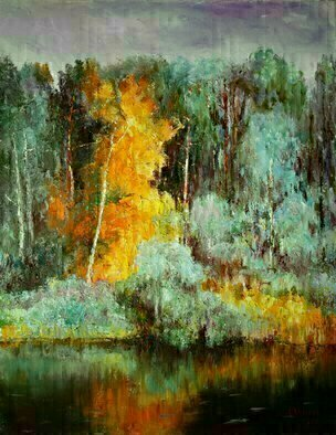 Vladimir Volosov: 'autumn forest', 2017 Oil Painting, Impressionism. This artwork is an textured oil painting on Nanvas stretched on a wooden frame, painted using a palette knife. Original artistaEURtms style aEUR