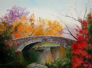 Vladimir Volosov: 'autumn park', 2018 Oil Painting, Impressionism. Artist Description: This is an original unique textured oil painting on stretched canvas. Original Artist Style aEUR