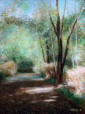 Vladimir Volosov: 'avenue', 1999 Oil Painting, Landscape. Artist Description: This is an original unique textured oil painting on stretched canvas. Original Artist Style aEUR