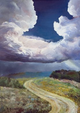 Vladimir Volosov: 'before thunderstorm', 2018 Oil Painting, Landscape. Artist Description: This is an original unique textured oil painting on stretched canvas. Original Artist Style aEUR