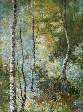 Vladimir Volosov: 'birches forest', 2010 Oil Painting, Landscape. Artist Description: This is an original unique textured oil painting on stretched canvas. Original Artist Style aEUR