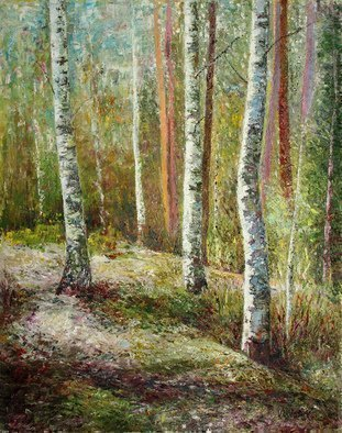Vladimir Volosov: 'birches forest', 2018 Oil Painting, Impressionism. Artist Description: This is an original unique textured oil painting on stretched canvas. The painting was created using professional quality oil paints. Original Artist Style aEUR