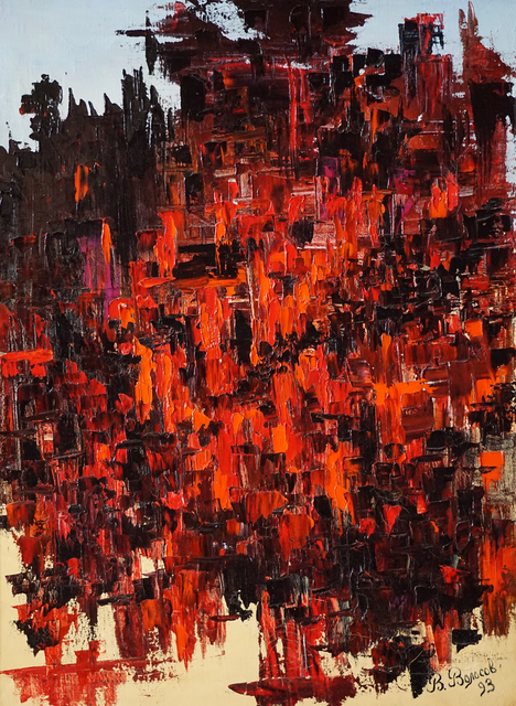 Vladimir Volosov: black and red, 1993 Oil Painting