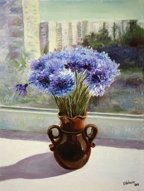 Vladimir Volosov: 'blue cornflowers', 2018 Oil Painting, Still Life. Artist Description: This is an original unique textured oil painting on museum stretched canvas. Original Artist Style aEUR