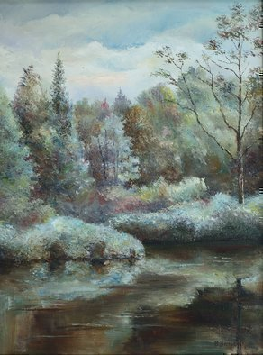 Vladimir Volosov: 'blue forest', 2005 Oil Painting, Impressionism. Artist Description: This is an original unique textured oil painting on stretched canvas. Original Artist Style aEUR