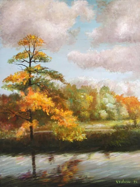 Vladimir Volosov: 'breath of autumn', 1992 Oil Painting, Landscape. This is an original unique textured oil painting on stretched canvas. Palette knife. Original Artist Style aEUR