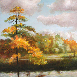 Vladimir Volosov: 'breath of autumn', 1992 Oil Painting, Landscape. Artist Description: Finest quality high grade professional oil paints. Original artwork is an unique textured oil painting on  Nanvas stretched on a wooden underframe.  Palette knife. Original Artist Style aEUR