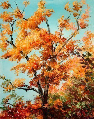 Vladimir Volosov: 'bright autumn', 2013 Oil Painting, Impressionism. Artist Description: This is an original unique textured oil painting on stretched canvas. Original Artist Style aEUR