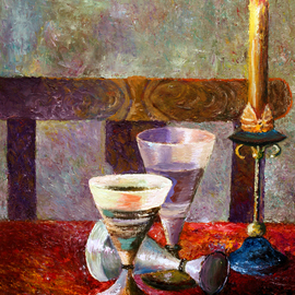 Vladimir Volosov Artwork candle on the table, 2017 Oil Painting, Still Life