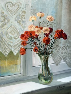 Vladimir Volosov: 'carnations on the window', 2007 Oil Painting, Still Life. Artist Description: This is an original unique textured oil painting on stretched canvas. Original Artist Style aEUR