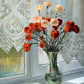 carnations on the window