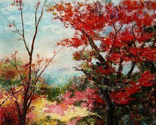 Vladimir Volosov: 'colors autumn red', 2014 Oil Painting, Impressionism. Artist Description: This is an original unique textured oil painting on stretched canvas.  Original Artist Style aEUR