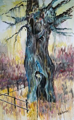 Vladimir Volosov: 'crying oak', 2015 Oil Painting, Landscape. Artist Description: This is an original unique textured oil painting on stretched canvas. Original Artist Style aEUR