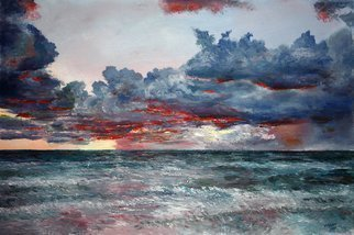 Vladimir Volosov: 'evening on the ocean', 2014 Oil Painting, Marine. Artist Description: This is an original unique textured oil painting on stretched canvas. Original Artist Style aEUR