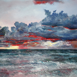 Vladimir Volosov: 'evening on the ocean', 2014 Oil Painting, Marine. Artist Description: This is an original unique textured oil painting on stretched canvas. The painting was created using professional quality oil paints. Original Artist Style aEUR