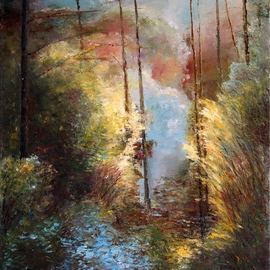 Vladimir Volosov: 'forest fantasy', 2018 Oil Painting, Landscape. Artist Description: This is an original unique textured oil painting on stretched canvas. Original Artist Style aEUR