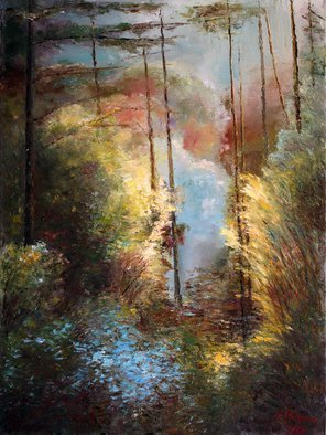 Vladimir Volosov: 'forest fantasy', 2018 Oil Painting, Abstract Landscape. Artist Description: This is an original unique textured oil painting on stretched canvas. The painting was created using professional quality oil paints. Original Artist Style aEUR