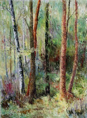 Vladimir Volosov: 'forest melody', 2019 Oil Painting, Impressionism. This is an original unique textured oil painting on  Nanvas on a wooden frame.  Palette knife. Original Artist Style aEUR