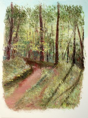 Vladimir Volosov: 'forest path', 2019 Oil Painting, Impressionism. Artist Description: This is an original unique textured oil painting on stretched canvas. The painting was created using professional quality oil paints. Original Artist Style aEUR