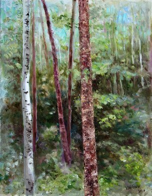 Vladimir Volosov: 'forest sketch', 2016 Oil Painting, Landscape. Artist Description: This is an original unique textured oil painting on stretched canvas. The painting was created using professional quality oil paints. Original Artist Style aEUR