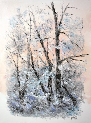 Vladimir Volosov: 'frosty', 2019 Oil Painting, Impressionism. Finest quality high grade professional oil paints. Original artwork is an unique textured oil painting on  Nanvas stretched on a wooden frame.  Palette knife. Original Artist Style aEUR
