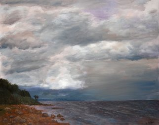 Vladimir Volosov Artwork gloomy sky, 2014 Oil Painting, Marine