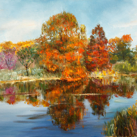 Vladimir Volosov Artwork golden autumn, 2014 Oil Painting, Landscape