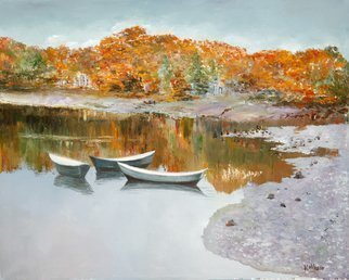 Vladimir Volosov: 'golden autumn in new england', 2012 Oil Painting, Marine. Artist Description: This is an original unique textured oil painting on museum stretched canvas. Original Artist Style aEUR