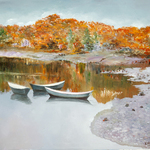 golden autumn in new england By Vladimir Volosov