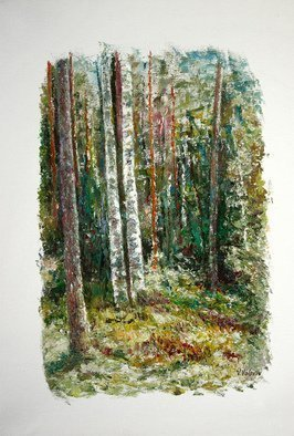 Vladimir Volosov: 'in dark forest', 2016 Oil Painting, Impressionism. Artist Description:  Original Authors Style. Fat oil, palette knife...