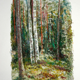 Vladimir Volosov - in dark forest, Original Painting Oil