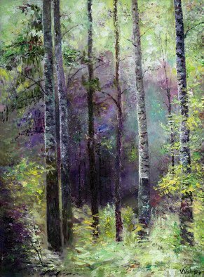 Vladimir Volosov: 'in the dark blue forest', 2018 Oil Painting, Landscape. Artist Description: This is an original unique textured oil painting on museum stretched canvas. Original Artist Style aEUR
