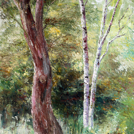 Vladimir Volosov: 'in the thicket', 2006 Oil Painting, Landscape. Artist Description: This is an original unique textured oil painting on stretched canvas.  Original Artist Style aEUR