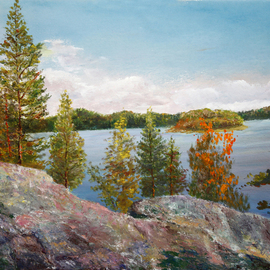 Vladimir Volosov: 'karelian mountains', 2015 Oil Painting, nature.