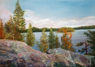 Vladimir Volosov: 'lake in the mountains', 2015 Oil Painting, Landscape. Artist Description: This is an original unique textured oil painting on stretched canvas. Original Artist Style aEUR