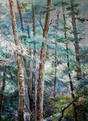 Vladimir Volosov: 'landscape in blue colors', 2012 Oil Painting, Landscape. Artist Description: This is an original unique textured oil painting on stretched canvas. The painting was created using professional quality oil paints. Original Artist Style aEUR