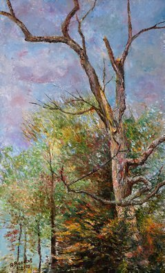 Vladimir Volosov: 'landscape with old tree', 2009 Oil Painting, Marine.