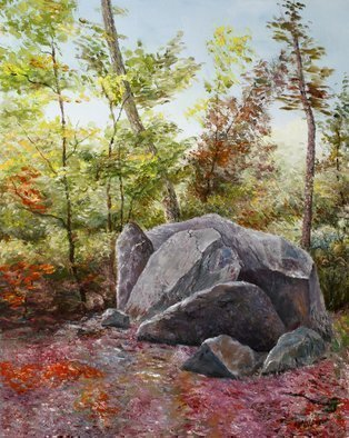 Vladimir Volosov: 'landscape with stones', 2013 Oil Painting, Landscape. Artist Description: This is an original unique textured oil painting on stretched canvas. The painting was created using professional quality oil paints. Original Artist Style aEUR