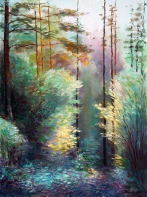 Vladimir Volosov: 'light and shadow in the forest', 2018 Oil Painting, Landscape. Artist Description: This is an original unique textured oil painting on stretched canvas. The painting was created using professional quality oil paints. Original Artist Style aEUR