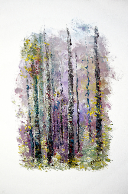 Vladimir Volosov: lilac forest, 2015 Oil Painting