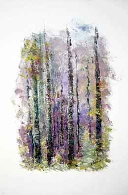 Vladimir Volosov: 'lilac forest', 2015 Oil Painting, Abstract Landscape. Artist Description: This is an original unique textured oil painting on stretched canvas.Pictured here is a fragment of an image, that caught the eye of the artist. Sometimes, the artist leaves untouched the periphery of the canvas, so the eye of the viewer doesnaEURtmt get distracted by its ...