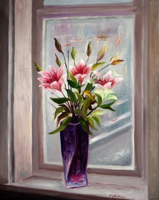 Vladimir Volosov: 'lilies on the window', 2015 Oil Painting, Still Life. Artist Description: This is an original unique textured oil painting on stretched canvas. Original Artist Style aEUR