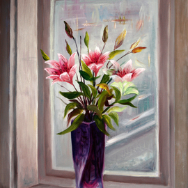 Vladimir Volosov Artwork lily on the window, 2015 Oil Painting, Still Life