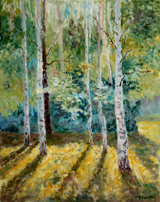 Vladimir Volosov Artwork long shadows in the forest, 2016 Oil Painting, Impressionism