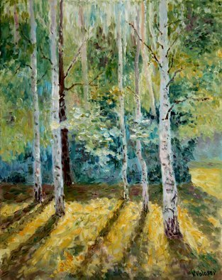 Vladimir Volosov: 'long shadows in the forest', 2016 Oil Painting, Nature. Artist Description: This is an original unique textured oil painting on stretched canvas. Original Artist Style aEUR