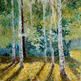 Vladimir Volosov: 'long shadows in the forest', 2016 Oil Painting, Landscape. Artist Description: This artwork is an textured oil painting on Nanvas stretched on a wooden frame, painted using a palette knife. I have been working on improving the texture of my paintings, and I think, in this picture, I have been able to show the results of that work. Bright ...